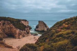 beach, Grass, Rocks, Cliff, Exotic, Sea