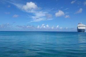 sea, Atlantic ocean, Cruise ship, Clouds, Blue