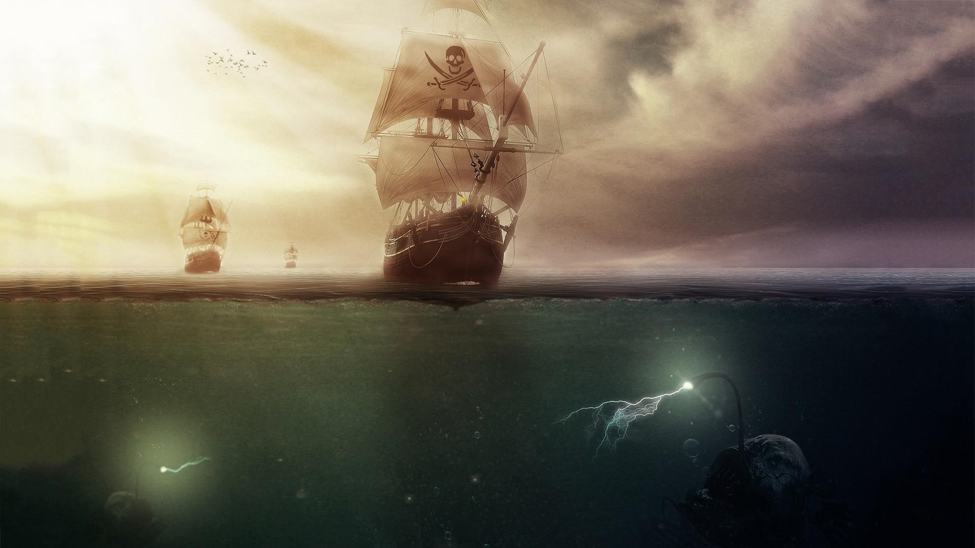 Pirates Artwork Sailing Ship Sea Clouds Anglerfish