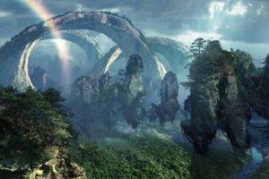 fantasy art, Digital art, Pixelated, Artwork, Science fiction, Trees, Forest, Plants, Dark, Rocks, Rainbows, Air, Movies, Pandora, Avatar