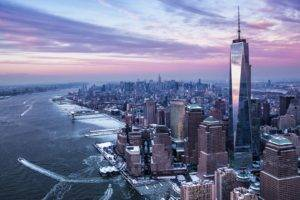 architecture, Building, Skyscraper, New York City, USA, Cityscape, Manhattan, One World Trade Center, Sunset, Clouds, Ship, Winter, Snow
