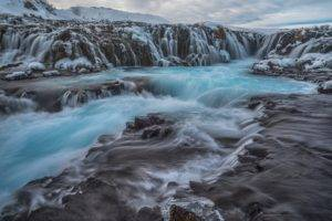 nature, Landscape, Waterfall, Water, Rock, Clouds, Iceland, Winter, Long exposure, Snow, Mountians, Plants, Ice, Stream