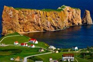 nature, Landscape, Trees, House, Quebec, Canada, Rock, Sea, Rock formation, Field, Grass, Road, Water, Bird&039;s eye view, Cross, Percé