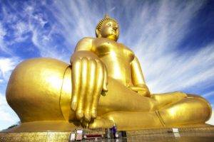 Buddha, Monks, Thailand, Sky