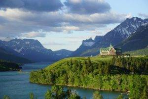 nature, Landscape, Photography, Mountains, Lake, Hotel, Grass, Trees, Canada