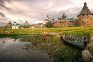 architecture, Landscape, Castle, Nature, Clouds, Russia, Boat, Lake, Stones, Tower, Church, Cross, Grass, Trees