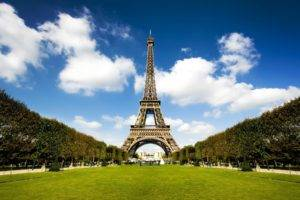 French, Architecture, Tower, France, Eiffel Tower, Trees, Sky, Clouds