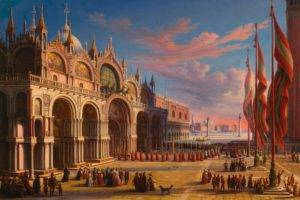 Carl Ludwig Rundt, People, Crowds, Artwork, Painting, Classic art, Traditional art, Venice, Italy, Architecture, Town square, Flag, Clouds