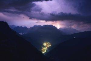 photography, Landscape, Nature, Storm, Lightning, Mountains, Valley, Evening, City, Clouds