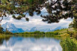 nature, Landscape, Photography, River, Mountains, Shrubs, Trees, Clouds, Grand Teton National Park, Wyoming