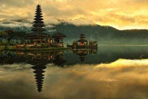 nature, Landscape, Water, Indonesia, Bali, Island, Lake, Temple, Asian architecture, Clouds, Sunrise, Mist, Trees, Mountains, Hills, Forest, Reflection, Morning