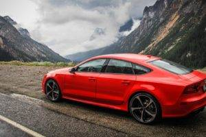 Audi RS7, Audi, Audizone, Red cars, Mountains, Vehicle, Car