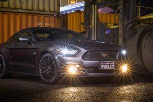 Ford Mustang GT, Vehicle, Car, Headlights, Night, Muscle cars