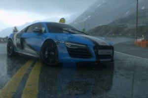 Audi R8, Screen shot, Road, Reflection, Forza Motorsport 5, Sports car, Mountains, Scratches