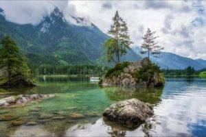 photography, Landscape, Nature, Lake, Mountains, Clouds, Rocks, Forest, Pine trees, Boat, Spring, Germany