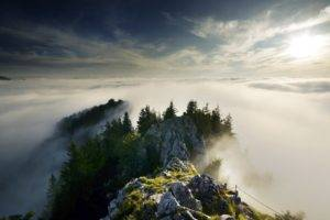 nature, Landscape, Mountains, Clouds, Trees, Rock, Mist, Forest, Sunlight