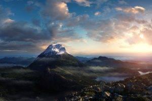 landscape, Mountains, Clouds