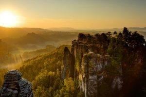 landscape, Sun, Valley, Saxon Switzerland