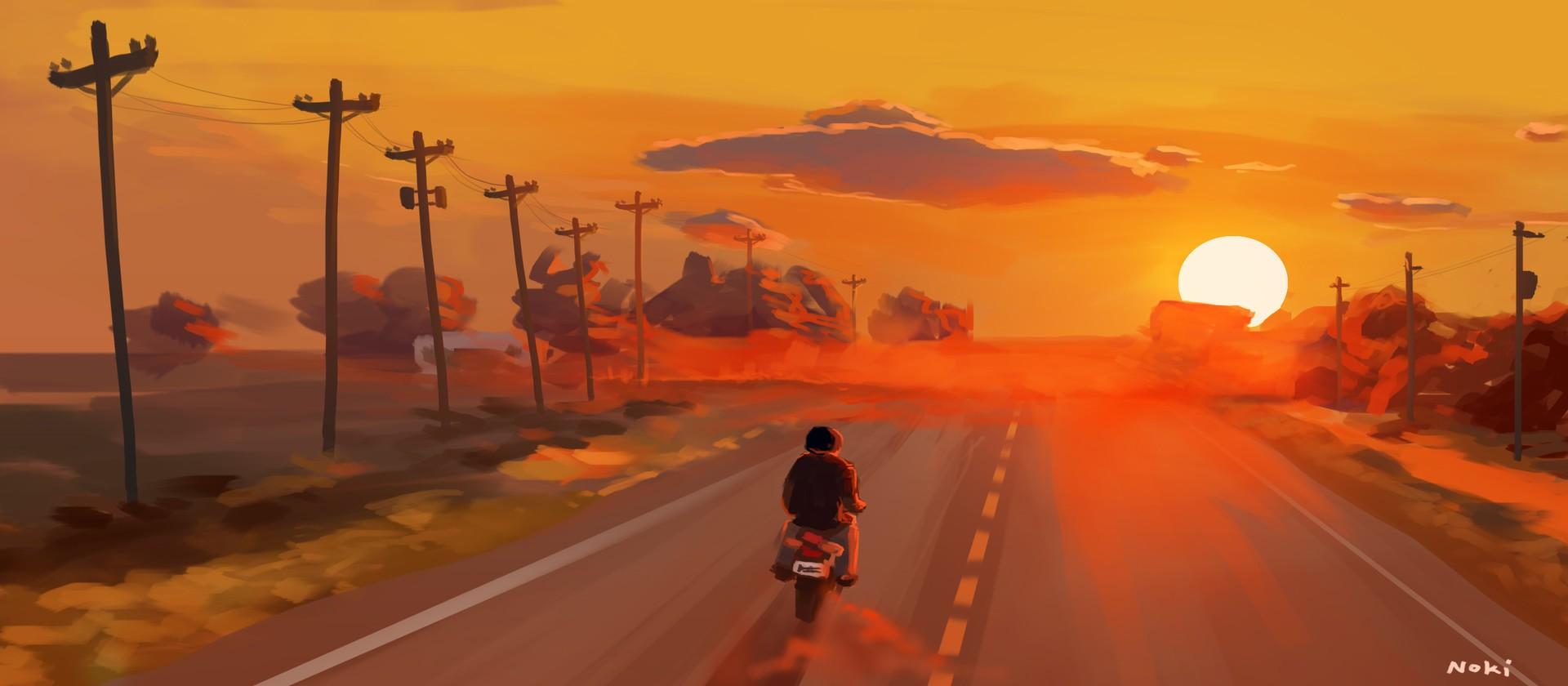 Sunset Road Illustration Wallpapers Hd Desktop And Mobile Backgrounds