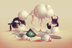 Aaron Campbell, Digital art, Fantasy art, Animals, Surreal, 3D, Clouds