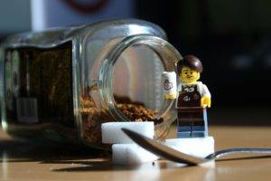 LEGO, Toys, Closeup, Miniatures, Humor, Photography, Depth of field, Sugar, Spoon, Coffee, Table, Nescafe