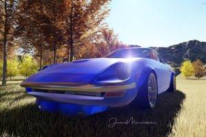 Nissan Fairlady Z, S30, Japanese cars, Car, 3D, Render, Blue cars