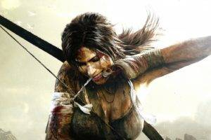 Lara Croft, Dark hair, Bow, Simple background, Tomb Raider