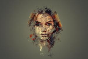 Barbara Palvin, Face, Eyes, Photoshop, Pixel art, Abstract