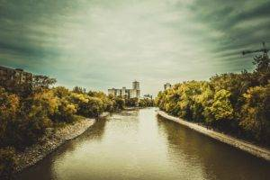 Winnipeg, River, Fall, Landscape, Clouds