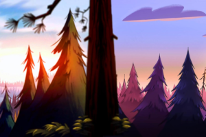 artwork, Waterfall, Forest, Gravity Falls