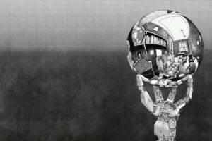 M. C. Escher, Robot, Monochrome, Sphere, Reflection