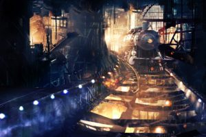 artwork, Fantasy art, Digital art, Train, Steam locomotive, Train station, Steampunk