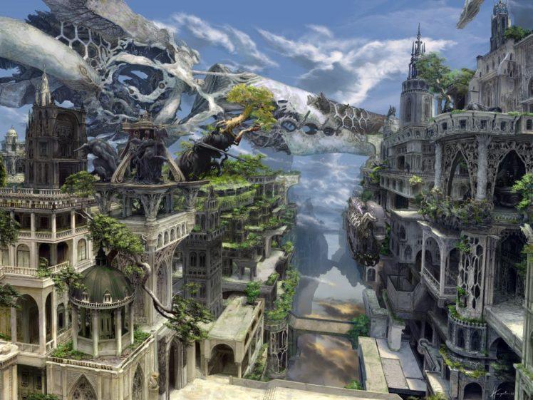 fantasy art, Building HD Wallpaper Desktop Background