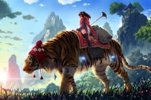 anime, Tiger, Digital art, Original characters