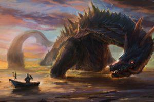 Monster Hunter, Lagiacrus, Digital art, Sea monsters