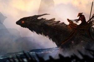 fantasy art, Samurai, Dragon