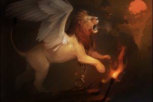 lion, Fantasy art, Creature, Artwork