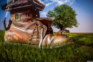 digital art, Fantasy art, Architecture, Building, House, Artwork, Painting, Boots, Nature, Landscape, Ladders, Grass, Trees, Chimneys, Window, Smoke, Shoes, Lace, Swirls, Depth of field