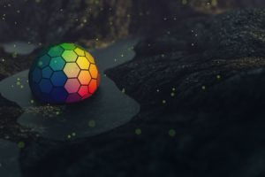 digital art, Fantasy art, CGI, Abstract, 3D, 3d object, Hexagon, Colorful, Circle, Sphere, DeviantArt
