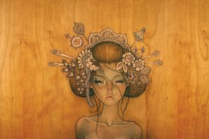 women, Drawing, Face, Wood, Audrey Kawasaki