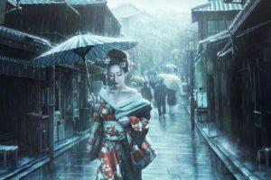 artwork, Women, Asian, Asian architecture, Rain, Geisha, Street, Umbrella, Japanese umbrella, Dress, Kimono