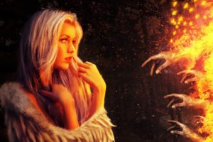 fire, Hand, Women, Artwork, Fantasy art
