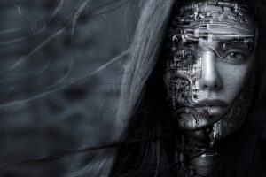 face, Looking at viewer, Women, Robot, Science fiction, Artwork, Monochrome, Windy
