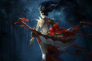 women, Warrior, Fantasy art, Sword, Red