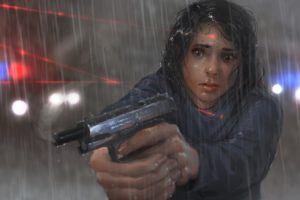 women, Police, Fan art, Gun, Laser, Rain