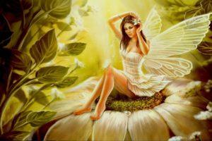 women, Legs, Arms up, Blue eyes, Artwork, Fantasy art, Angel, Wings, Dress, White dress, Flowers, Leaves, Nature, Flower in hair