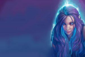 women, Blue hair, Elves, Artwork, Fantasy art