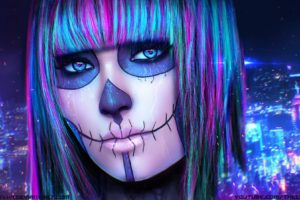 face, Eyes, Heart, Women, Looking at viewer, Dia de los Muertos, Fantasy art, Artwork, Digital art