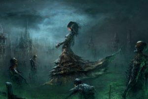 creepy, Women, Digital art, Fantasy art, Skeleton, Skull, Cross, Grave, Dark, Cemetery, Zombies