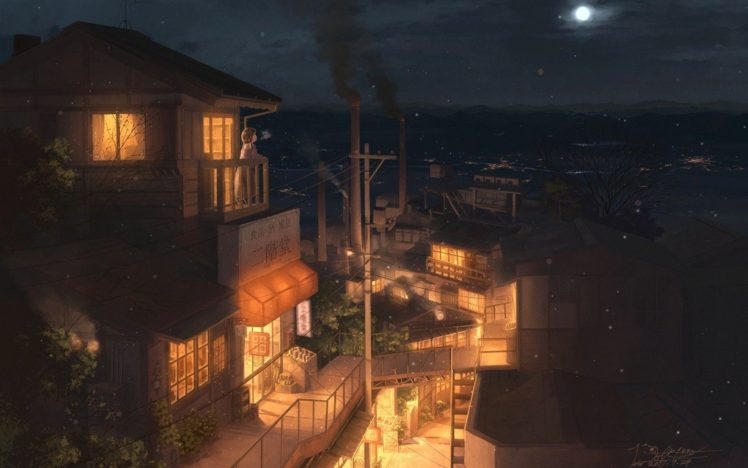 city, Building, Night, Industrial city, Moon, Anime, Anime girls HD Wallpaper Desktop Background